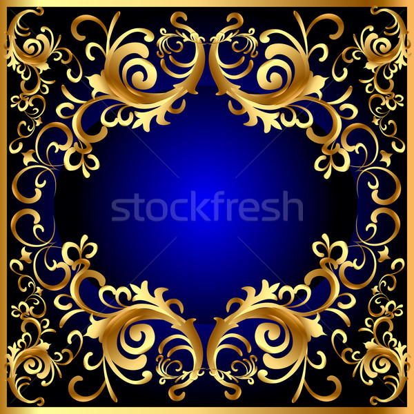 vintage blue frame with vegetable gold(en) pattern Stock photo © yurkina