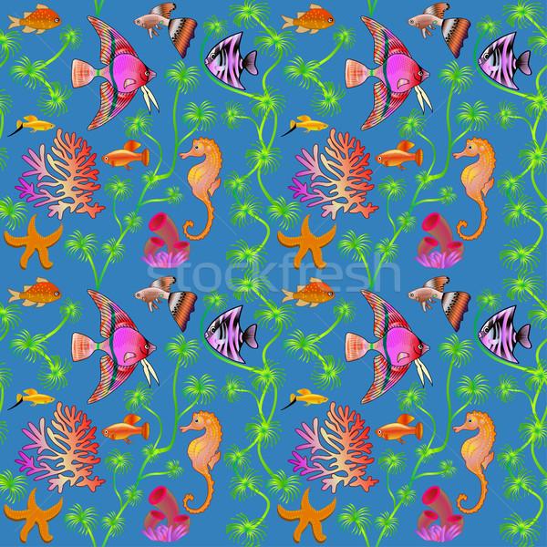 illustration seamless pattern marine life with colorful fish, co Stock photo © yurkina
