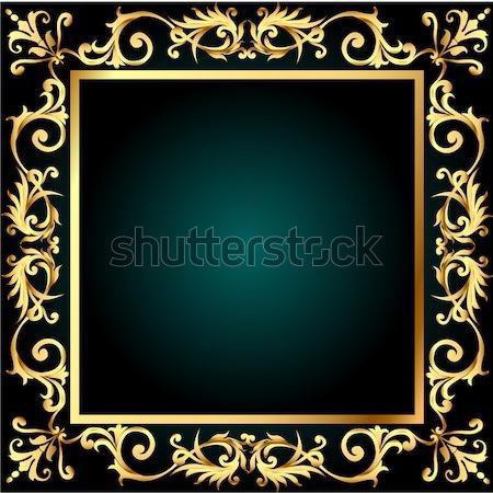 background frame with gold(en) vegetable ornament Stock photo © yurkina