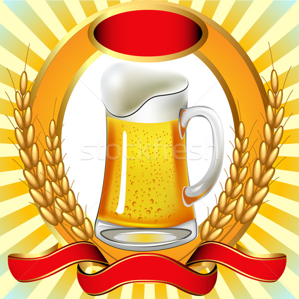 Cerveja bexiga ouvido fita ilustração papel Foto stock © yurkina