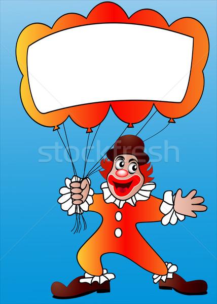 Foto stock: Palhaço · ar · bola · mensagem · ilustração · homem