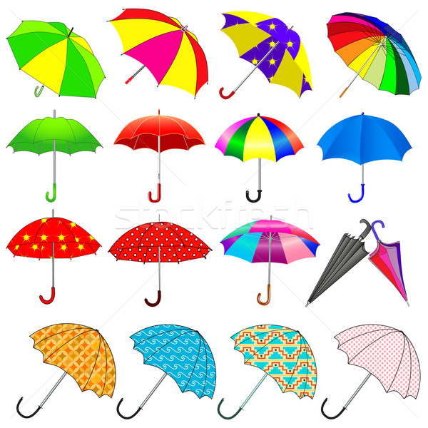 Conjunto guarda-chuvas chuva ilustração verde azul Foto stock © yurkina