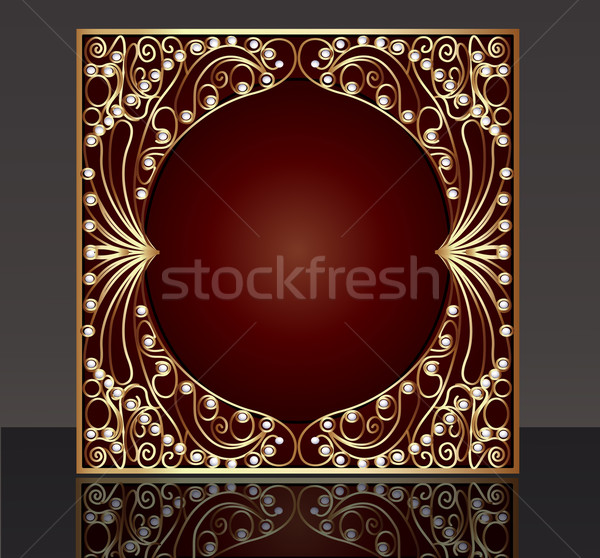 frame with pattern from gold(en) wire with pearl  Stock photo © yurkina