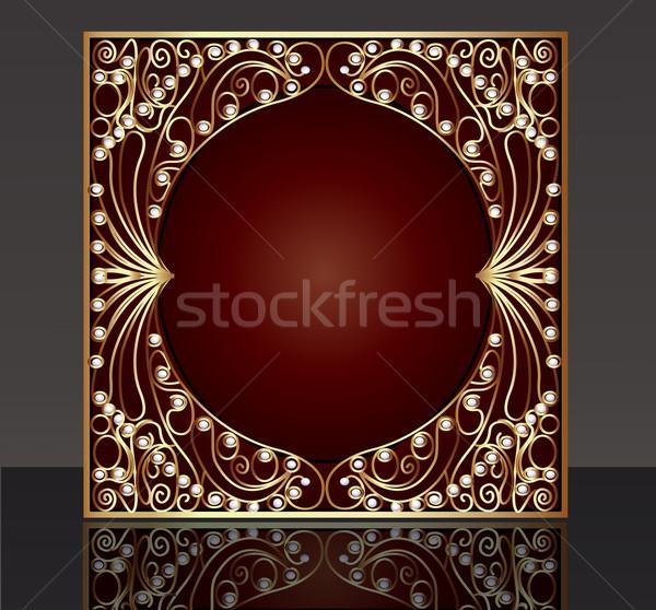 çerçeve model altın tel inci örnek Stok fotoğraf © yurkina