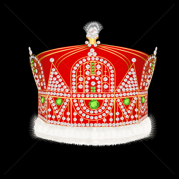 of Royal gold crown with ornament and pearls Stock photo © yurkina