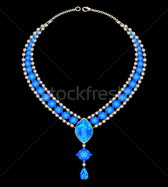 jewelry female necklace with blue jewels Stock photo © yurkina