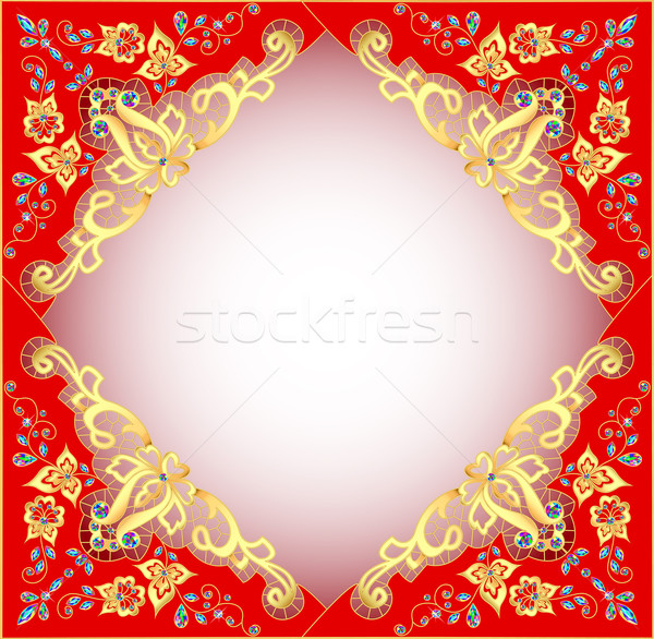 red background with gold ornament and precious stones Stock photo © yurkina
