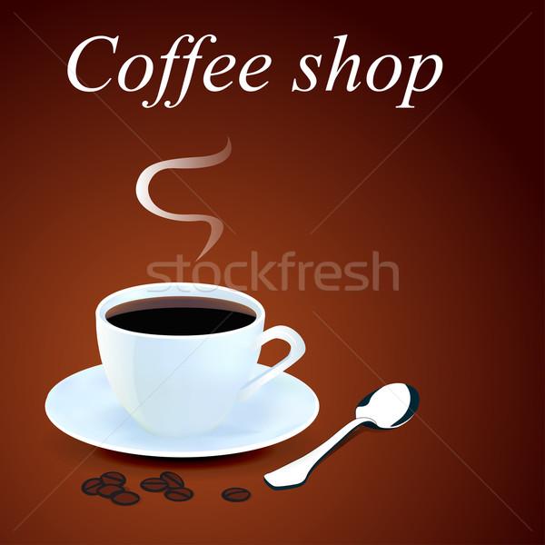 Bögre kávé magvak illusztráció absztrakt keret Stock fotó © yurkina