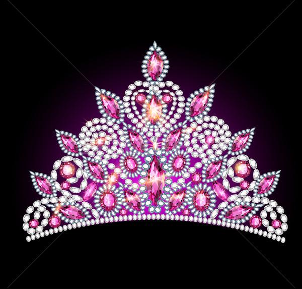 crown tiara women with pink gemstones Stock photo © yurkina