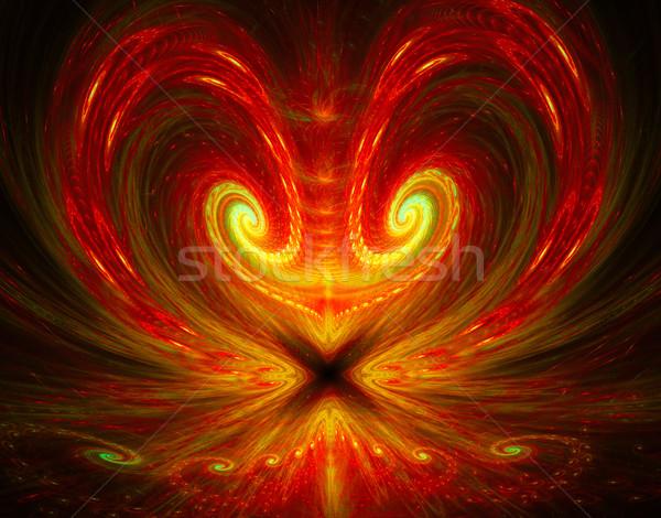 Illustratie fractal heldere hart pijl achtergrond Stockfoto © yurkina