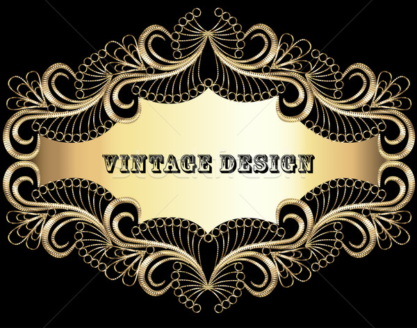 illustration vintage background frame with gold pattern Stock photo © yurkina