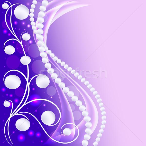 Ilustración floral ornamento perlas moda marco Foto stock © yurkina