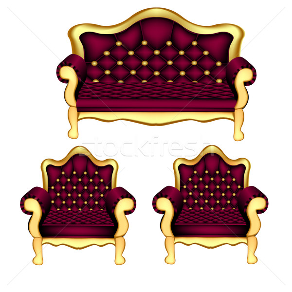 ősi kényelmes kanapé kettő székek illusztráció Stock fotó © yurkina