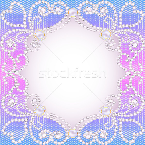 wedding background with frame ornament with pearls and precious Stock photo © yurkina