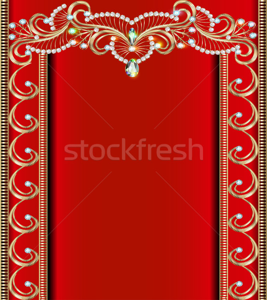 illustration background with Golden ornaments with precious ston Stock photo © yurkina