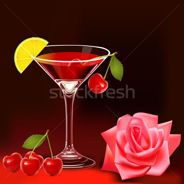Rózsa érett cseresznye illusztráció virág étel Stock fotó © yurkina