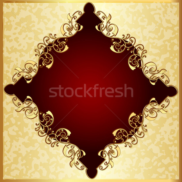 spotted background with red frame with gold(en) pattern Stock photo © yurkina