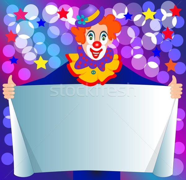 amusing clown keeps paper for invitation Stock photo © yurkina