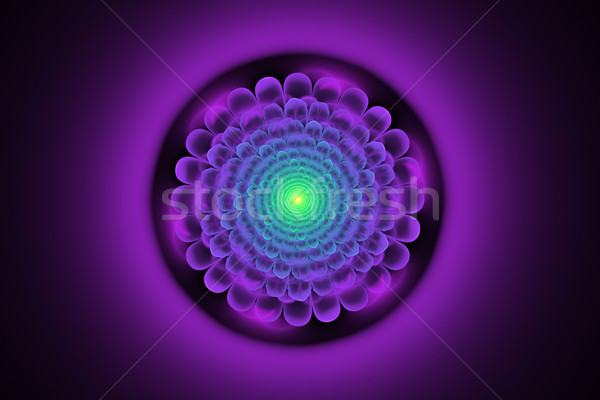 fractal illustration of a neon flower on a dark background Stock photo © yurkina