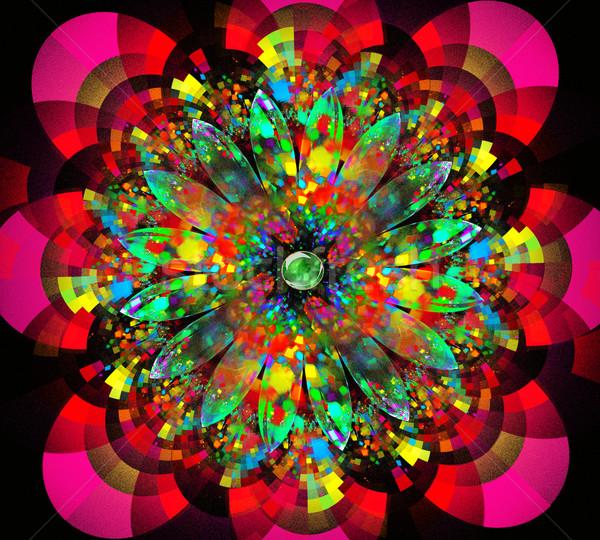 иллюстрация фрактальный ярко цветок линия листьев Сток-фото © yurkina