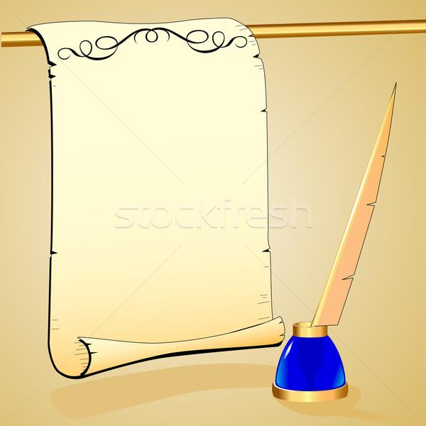 Stock fotó: Toll · üres · papír · illusztráció · iroda · toll