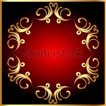 Stock photo:  frame background with gold(en) pattern on circle