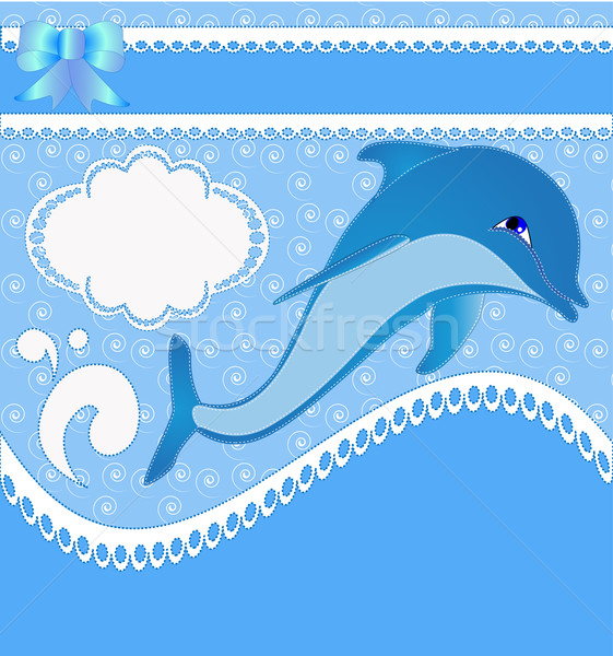 nursery card of the announcement with dolphins Stock photo © yurkina