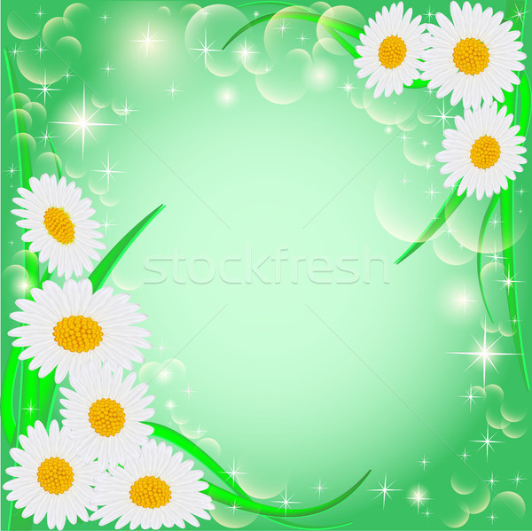 Stock photo:  of a green background with daisies and stars