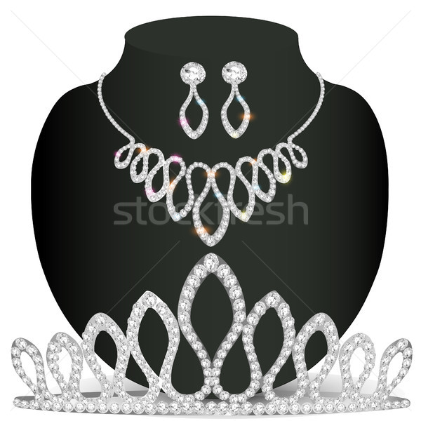 necklace diadem and earrings with white precious stones Stock photo © yurkina