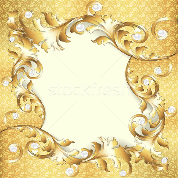 background frame with gold ornaments and pearls Stock photo © yurkina