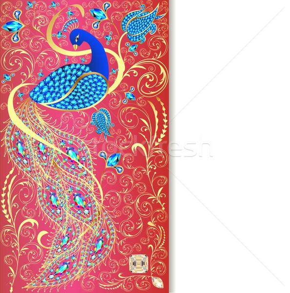 örnek tavuskuşu altın süs değerli taşlar Stok fotoğraf © yurkina