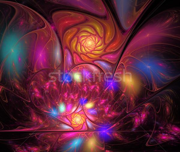 иллюстрация спиральных фрактальный ярко цветок компьютер Сток-фото © yurkina
