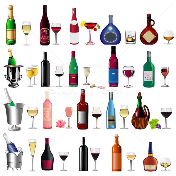 set bottle wine and goblet on white Stock photo © yurkina