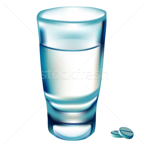 glass water and tablet on white Stock photo © yurkina