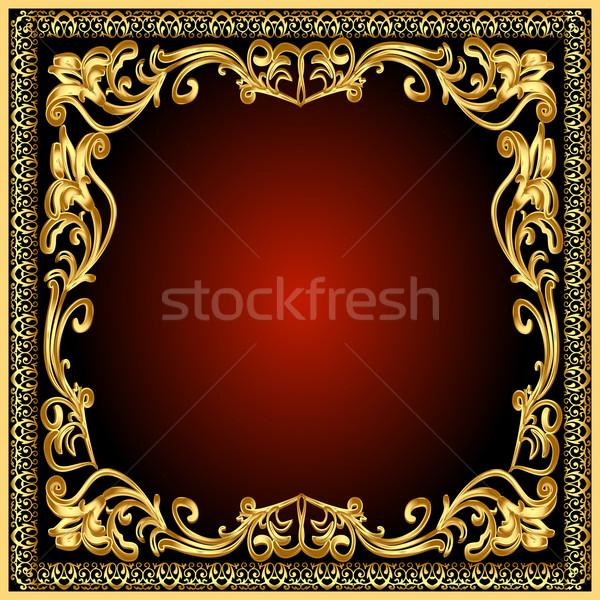 Marco dorado edad patrón ilustración pared Foto stock © yurkina