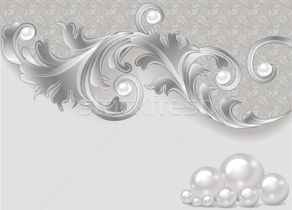 background with a scattering of pearls and a silver ornament Stock photo © yurkina