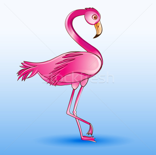 of a pink flamingo standing on a blue background Stock photo © yurkina