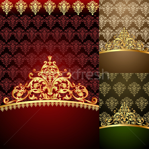 set background of the frames with gold(en) pattern Stock photo © yurkina