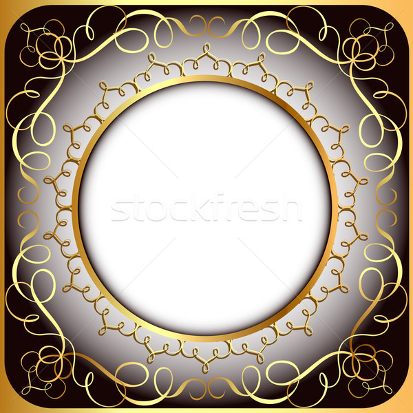 background frame with gold(en) circular pattern Stock photo © yurkina