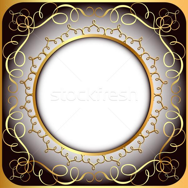 Keret arany körkörös minta illusztráció virág Stock fotó © yurkina