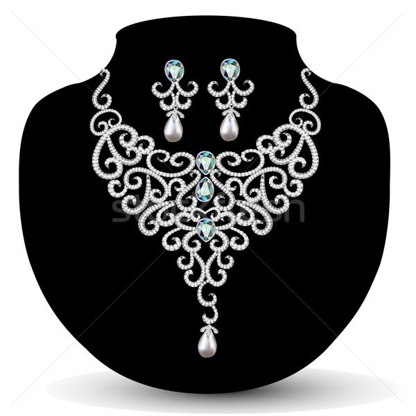 necklace and earrings, wedding womens diamond Stock photo © yurkina