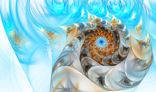 örnek fraktal kabuk deniz güzellik mavi Stok fotoğraf © yurkina