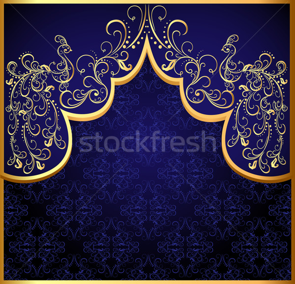 Stock photo:  decorative background frame with gold(en) peacock