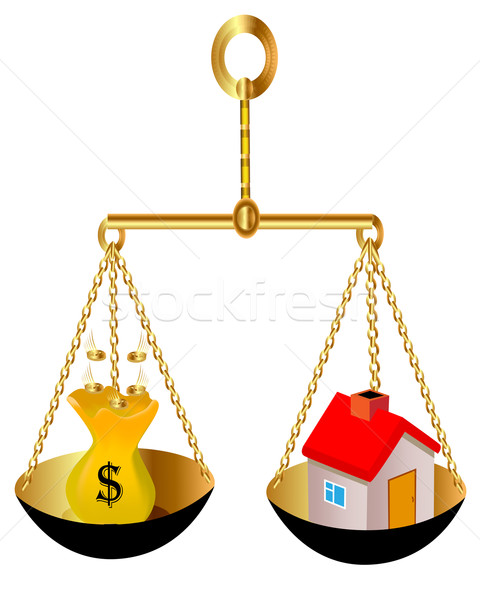 on weight house and bag with dollar Stock photo © yurkina