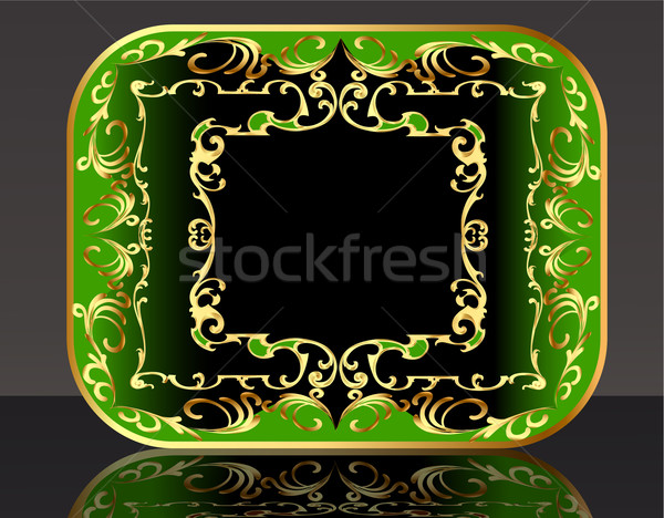 frame background with gold(en) winding pattern and reflection Stock photo © yurkina