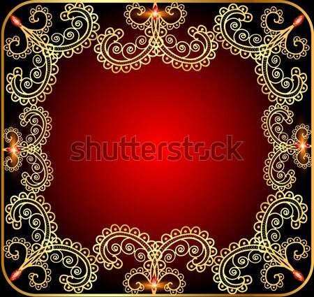 illustration background with precious stones, gold pattern Stock photo © yurkina
