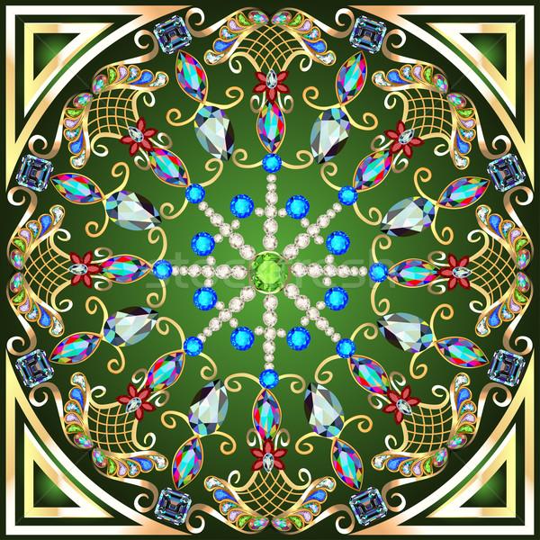 Illustratie goud ornamenten kostbaar stenen Stockfoto © yurkina