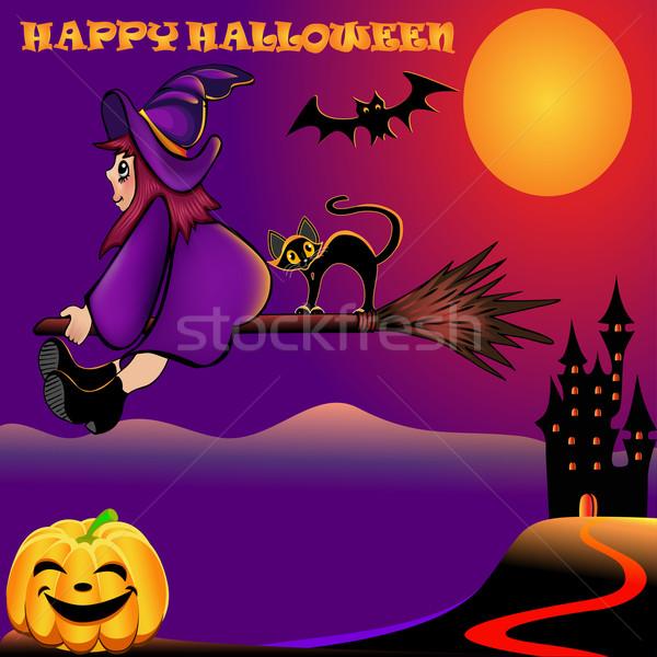 background halloween with pumpkin and house Stock photo © yurkina