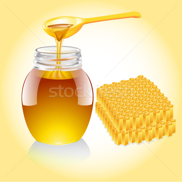 honey current from spoon and honeycomb Stock photo © yurkina