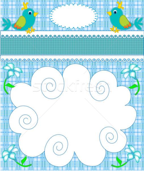 Faiskola kártya közlemény madár illusztráció virág Stock fotó © yurkina